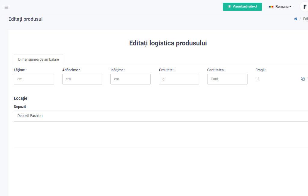 Configurare manuala logistica